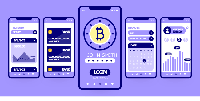 Mobile App crypto trading koncept